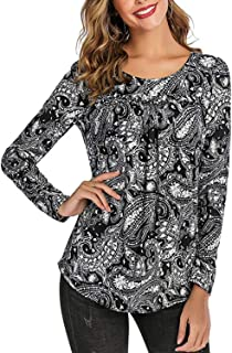 Women's Paisley Printed Long Sleeve Shirts Flare Blouse Pleated Casual Tops