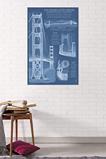 Trends International Golden Gate Bridge-Blueprints Clip Bundle Wall Poster, 22.375