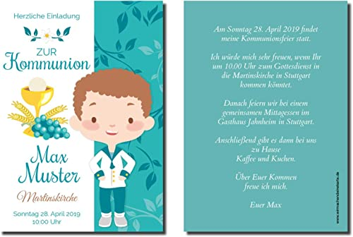 Einladung Einladungskarte Kommunion Ornament Junge