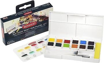 Derwent Inktense Watercolor Paint Set, Paint Pan Water Color Travel Set, includes 12 Vibrant Colors, Water Brush and Spong...