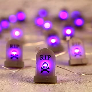 Impress Life Halloween RIP Graveyard Tombstones String Lights, 10 ft 30 LEDs Purple Lights, Battery and USB Plug-in Powere...