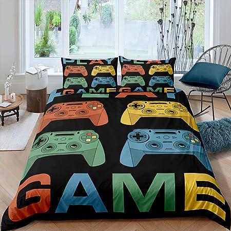 Modern Gamer Down Comforter Queen Size for Kids Boys Children Youth Black Blue Video Game Bedding Set Player Gaming Joystick Duvet Insert for Bedroom Erosebridal Teens Gamepad Comforter Set