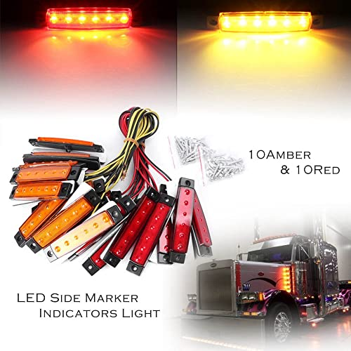 wholesale Mallofusa 20x 3.8 6 LED Truck Bus Boat RV Trailer Side Marker Indicator Light Amber online Red Lamp Front wholesale Rear Universal sale