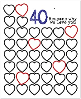 11x14 in 40 Reasons Why We Love You Poster Print - Personalized 40th Birthday Gift For Women and Men // Anniversary Decorations // Birthday Party Decorations // Guest Book // For Mom For Her For Dad