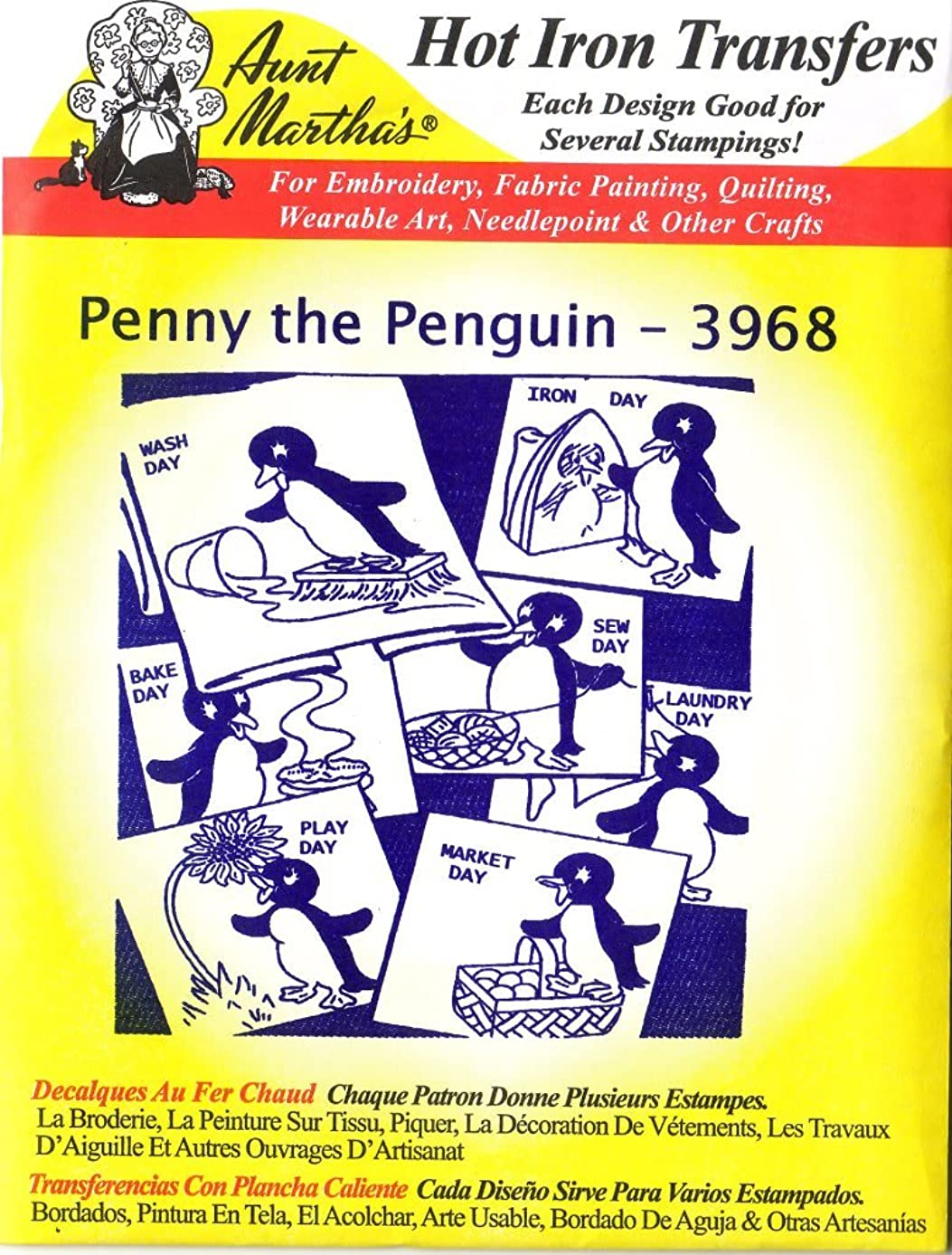 Penny the Penguin Aunt Martha's Hot Iron Embroidery Transfer