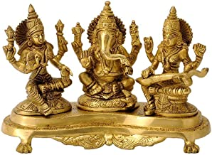 Brass Laxmi Ganesh Saraswati Idol | Ganesha Statue | Ganpati Murti | for Home Decor | Gift | (Gold)
