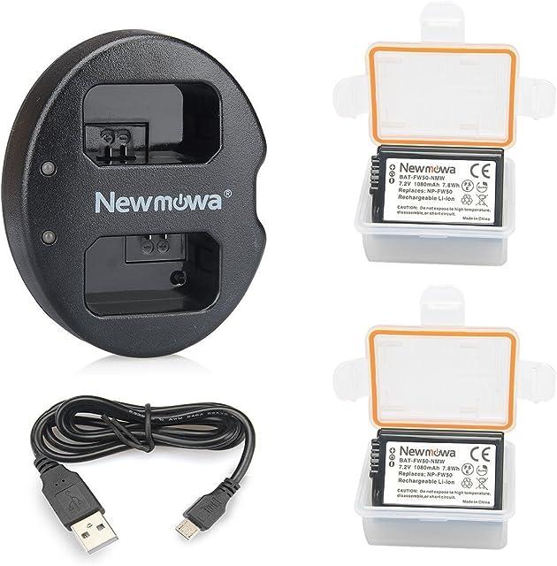 Newmowa NP-FW50 Batería de repuesto (2-Pack) y Kit de Cargador Doble para Micro USB portátil para Sony NP FW50 Sony Alpha a3000 Alpha a5000 Alpha a6000 a6100 a6300 a6500 Alpha 7 a7Alpha 7R a7R Alpha 7S a7S NEX-3 NEX-3N NEX-5 NEX-5N NEX-5R NEX-5T NEX-6 NEX-7 NEX-C3 NEX-F3 SLT-A33 SLT-A35 SLT-A37 SLT-A55V Cyber-shot DSC-RX10 DSC-RX10M3 DSC-RX10M2 RX10 IV