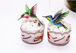 GEORLD Edible Hummingbird Cupcake Topper Cake Bird Decoration by Wafer Paper,12 Counts,Flat not 3D