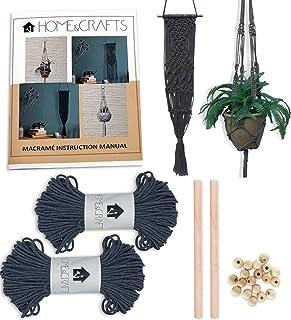 Macramé Kit - Dual Plant & Wall Hanging Kit - 328 Feet 100M 3mm Macramé Cord with Dowel, Beads and 4 Design Instruction Bo...