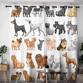 Onefzc Sliding Door Curtains,Dog Lover Decor Collection Different Type of Dogs Small and Big Dalmatian Golden Fur Fluffy Faithful Creature,Great for Living Rooms & Bedrooms,W108x72L,Brown Gray