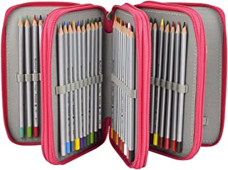Newcomdigi 72 Inserting Super Large Capacity Multi-layer Students Pencil Case Pen Bag Pouch Stationery Case Makeup Cosmetic Case Bag(rose red)