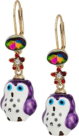 Betsey Johnson - Purple and Gold Owl Drop Earrings