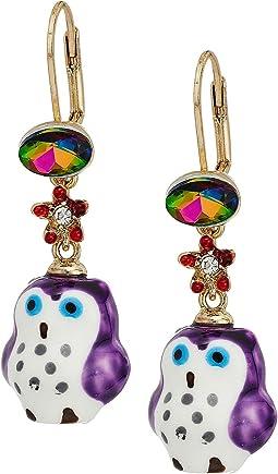 Betsey Johnson - Purple and Gold Owl Drop Earrings