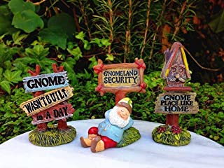 My Fairy Gardens Miniature - Set 3 Woodland Gnome Signs Gnomeland Security - Mini Dollhouse Supply Expressions