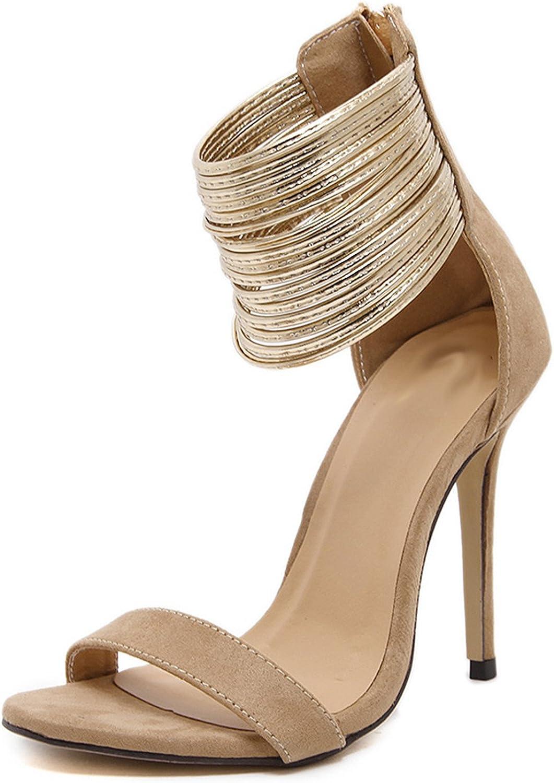 Karl Conner Women Ankle Wrap Sandals Beige Dress shoes Bridal Cover Heel Sandals