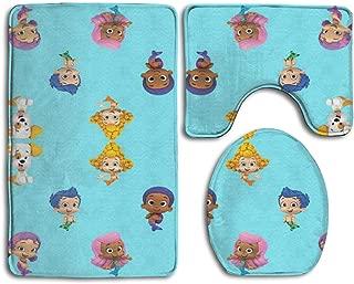 FunosHima Bubble Guppies Bath Mat,3 Piece Bathroom Rug Set, Flannel Non Slip Toilet Seat Cover Set,Large Contour Mat