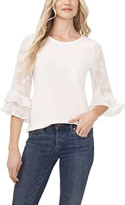 3/4 Sleeve Floral Clip Knit Top