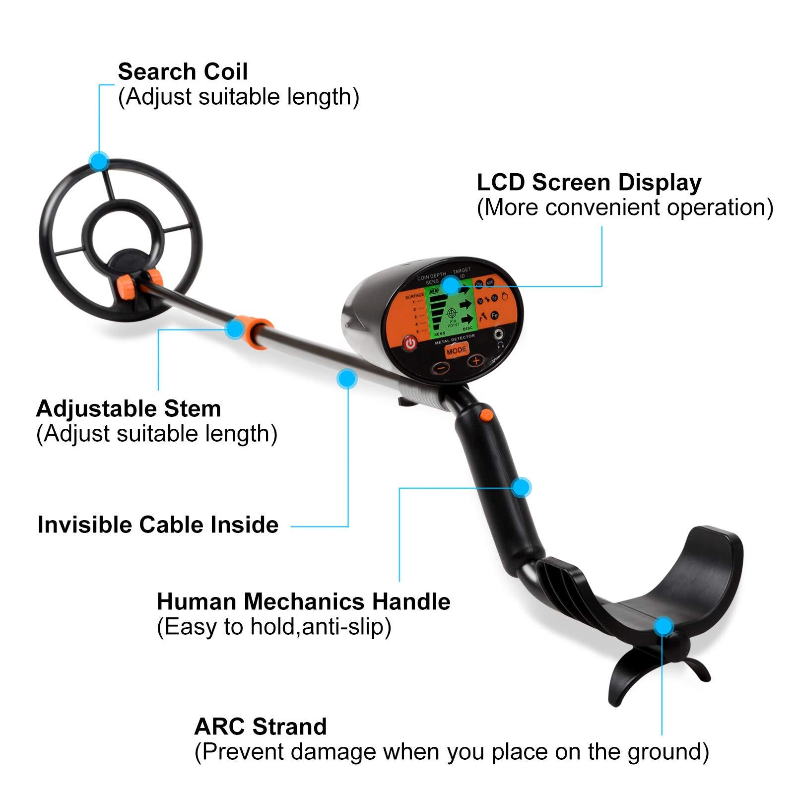 Voilamart Detector de Metales, Alta Sensibilidad, 2 Modos de busca, Pantalla LCD, Modo de Sonido, Bobina de Búsqueda Sensible, Impermeable y fácil de uso para Profesionales, Pala Incluídos: Amazon.es: Jardín
