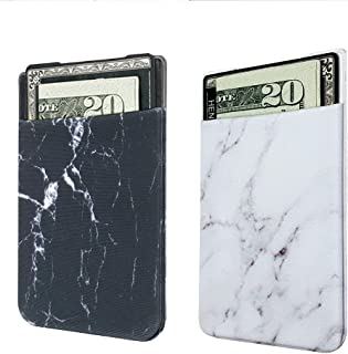 2 Pack Adhesive Cell Phone Credit Card Stick On Wallet Holder Phone Pocket Pouch Sleeves iPhone,Samsung Android All Smartphones (Black&White Marble)