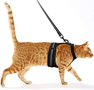 Pawaboo Cat Harness and Leash, Adjustable Soft Mesh Vest Walking Jacket Harness Leash, Walking Escape Proof Vest Harness with Nylon Webbings Metal Swivel Clip for Small Cat Dog