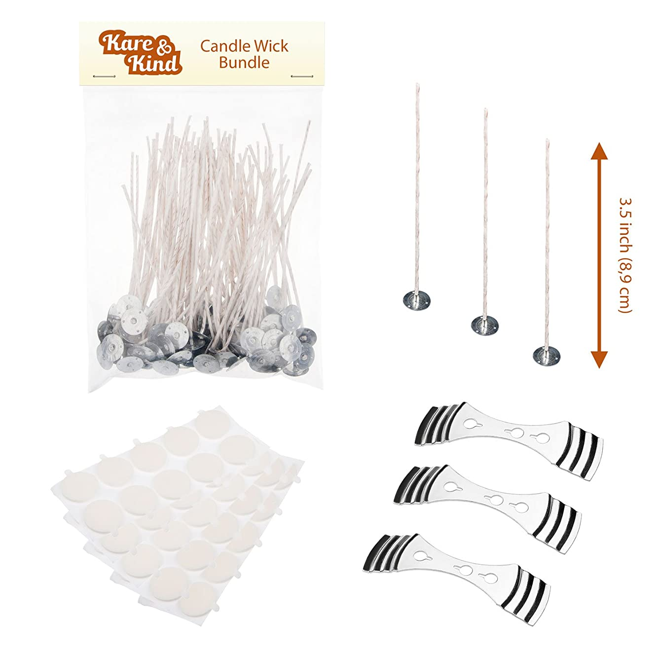 Candle Wick Bundle: 50 Candle Wicks, 50 Stickers and 3 Wick Holders - Easy Positioning - Wicks Coated With Natural Soy Wax, Cotton Threads Woven with Paper - Contains No Lead, Zinc or Other Metals