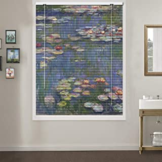 Patterned Aluminium Mini Window Blinds, Water Lily, by Claude Monet, Premium 1-inch Blackout Light Filtering Horizontal Custom Blinds, 20