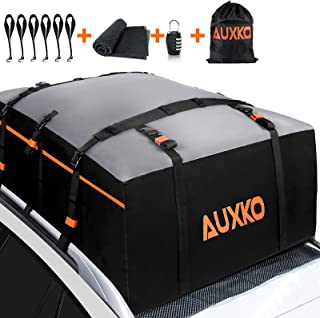 AUXKO 21 Cubic Feet Car Rooftop Cargo Carrier Roof Bag, Waterproof Car Soft Roof Top Carrier Heavy Duty Luggage Bag Storage Fits All Vehicle SUV with/Without Rack- Anti-Slip Mat Included