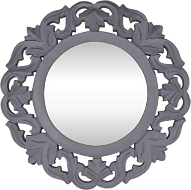 """Gold Star Crafts Decorative Hand Crafted Wooden Wall Mirror Panel (14""""X14"""") Grey"""