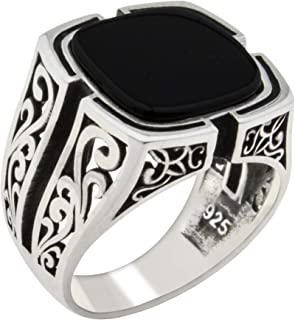 Solid 925 Sterling Silver Black Onyx Stone Turkish Handmade Luxury Men's Ring