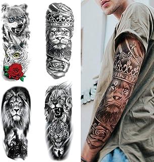 Full Brazo Tatuajes Temporales, Feelairy Grandes Tatuajes Falso Brazo Completo Negro, Tatuaje Temporal Adultos Tatuaje Cuerpo Pegatinas Animales para Hombres Mujeres, Lobo, León, Tigre (4 Hojas)