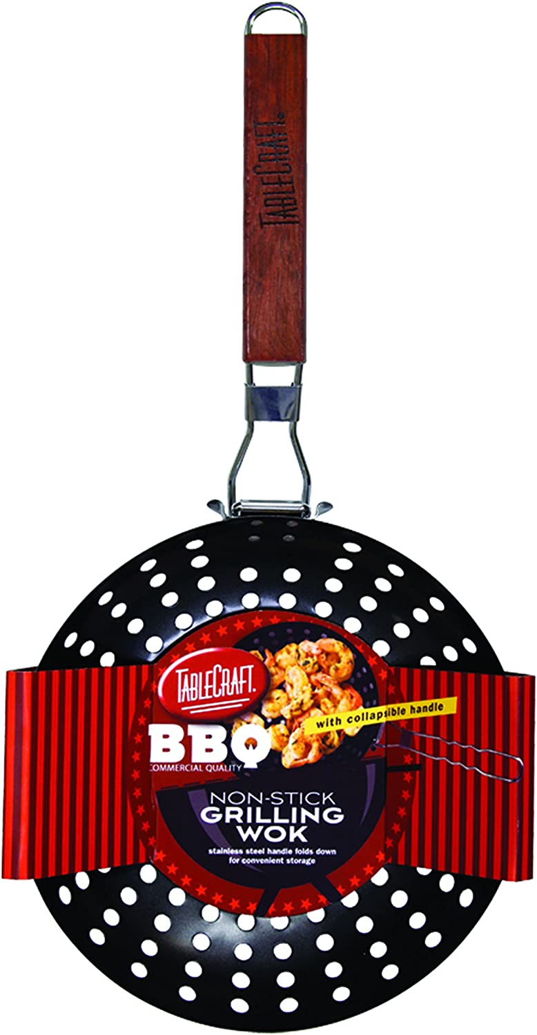 TableCraft BBQ Nonstick Grill Wok Dallas Mall Wood Steel Deluxe Small with Handle
