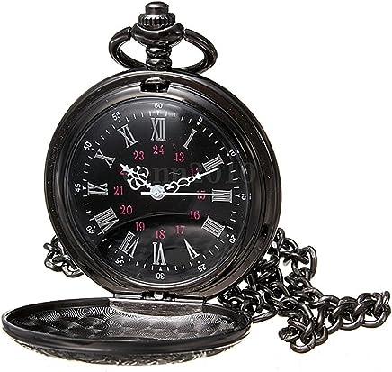 Halskette Taschenuhr - SODIAL(R)Vintage Steampunk Schwarzer Roemischer Ziffern-Anhaenger Halskette Quarz Taschenuhr Geschenk