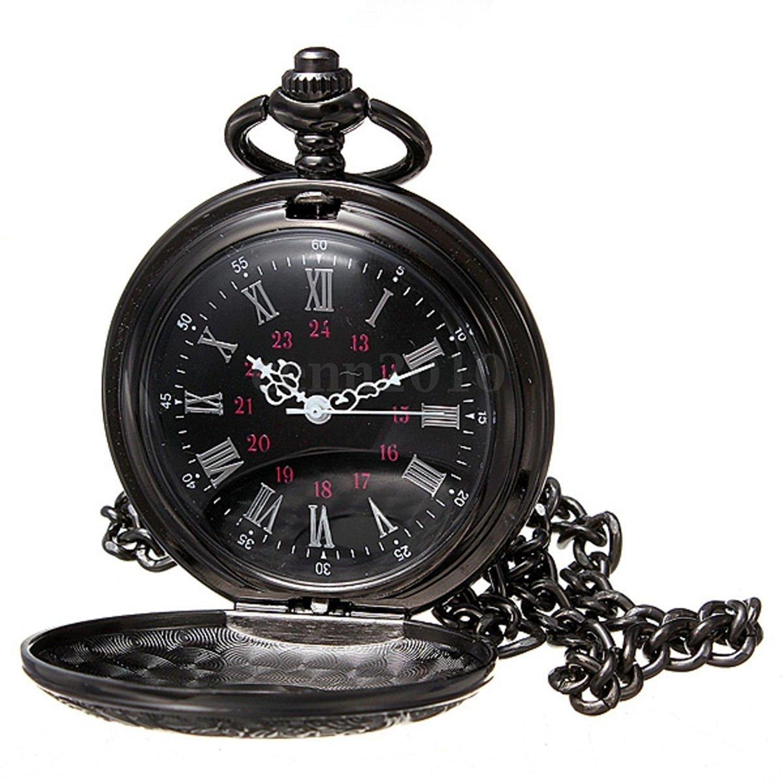Reloj de bolsillo de collar - SODIAL(R)Reloj de bolsillo de colgant del cuarzo del collar de numeros romanos negro de steampunk de la vendimia Regalo: Amazon.es: Relojes