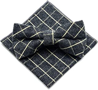 Men's Pre-tie Plaid Tuxedo Neck Bowtie Casual Bow Ties Pocket Square Set