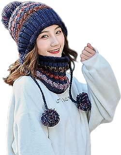 Womens Girls Knit Pom Pom Beanie Scarf Set Soft Warm Fleece Lined Winter Ski Hat with Earflap and Braids