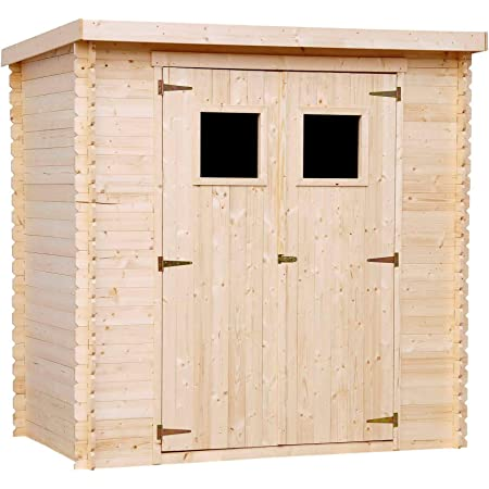 TIMBELA Abri de Jardin en Bois M311 - Stockage extérieur l204xL142xH200cm/2.22m2- Petit abri à Outils, Local à vélos - Toit imperméable, fenêtres
