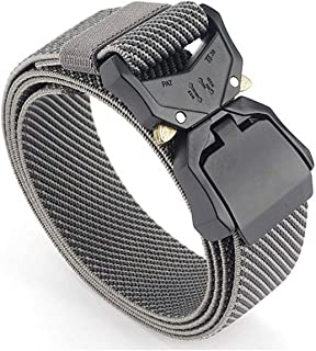 Tactical Rigger Belt For Men and Women Webbing Waist Belt 1.5 Inches with Heavy-Duty Quick-Release Buckle Nylon Belt Gray