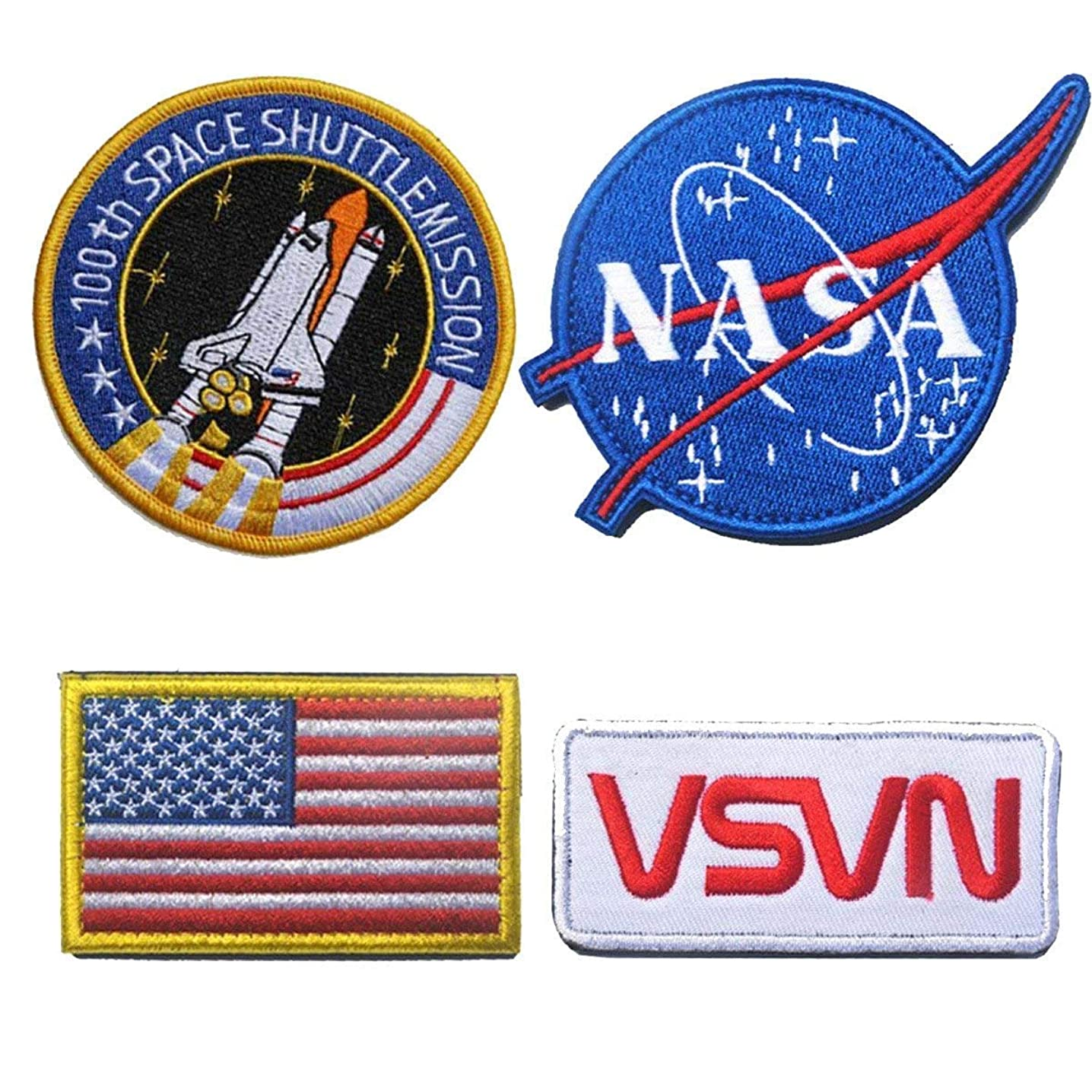 Antrix 4 Pieces US American Patch NASA Patch Hook & Loop Tactical USA Flag NASA Logo 100th Space Shuttle Mission Military Morale Patches