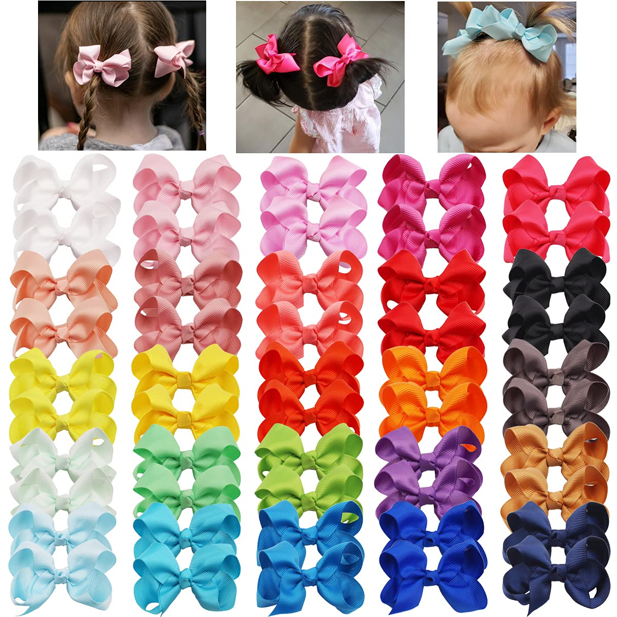 50PCS Max 58% OFF 25 Inventory cleanup selling sale Pairs Baby Hair Clips Grosgrain 3 Inch Ribbon Bow