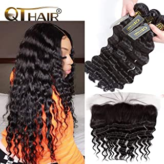 QTHAIR 12A Virgin Peruvian Loose Deep Wave Human Hair with Frontal(18 20 22+16 Frontal,Natural Black)100% Unprocessed Peruvian Loose Deep Wave Human Hair Weaves with Swiss Lace Closure Baby Hair
