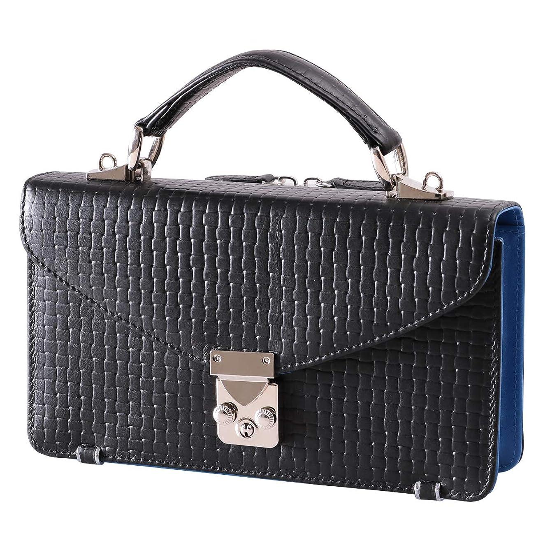もろい完全に乾く司教セカンドバッグ メンズ 本革 レザー ブロックメッシュ 型押し 2in1 財布一体型バッグ 【KA-1183】