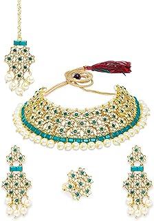 Zaveri Pearls Green Floral Kundan Choker Necklace Earring Maangtikka & Ring Set For Women-ZPFK10843