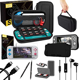 Orzly Switch Lite Accessories Bundle - Case & Screen Protector for Nintendo Switch Lite Console, USB Cable, Games Holder, Comfort Grip Case, Headphones, Thumb-Grip Pack & More Gift Pack