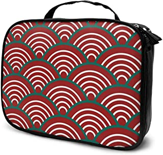 Red Green White Traditional Wave Japanese Makeup Train Cases Professional Travel Makeup Bag Cosmetic Cases Organizer Portable Storage Bag For Cosmetics Makeup Brushes Toiletry Travel Accessories