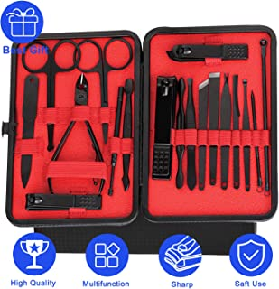 Manicure, Pedicure Kit, Nail Clippers Set, Professional Grooming Kit, Nail Scissors & Cuticle Scissors made,Nail File Sharp Nail Cutter with,Red 1 Pack of 18 Pcs