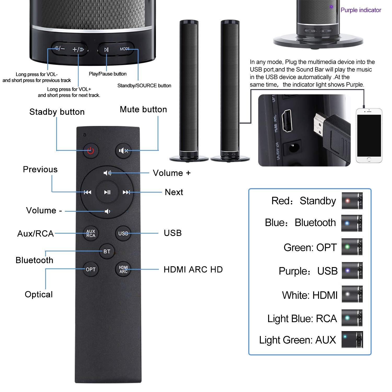 Barra de Sonido, Fityou Barra de Sonido para TV con Subwoofer Incorporado Barra de Sonido Bluetooth Sistema de Cine en Casa con Control Remoto, Desmontable y Montable,50W Soporte RCA/AUX/Opt/USB: Amazon.es: Electrónica