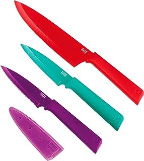 Kuhn Rikon Colori+ Set of 3 Non-Stick Culinary Knife Set, Multi-Colour