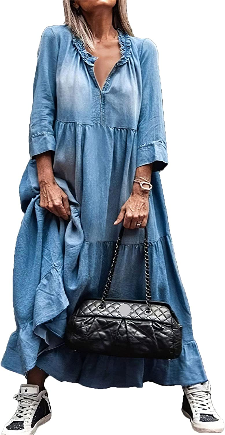 Akivide Women's Denim Maxi Dresses Fall Casual V Neck Plus Size 3/4 Sleeve Pullover Distressed Jean Long Dress