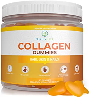 Collagen Gummies for Men and Women's Hair, Skin, and Nails (Bulk - 90 Gummies) Joint Care Vitamin for Anti-...