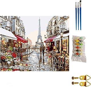 Ajcoflt Kit de Pintura DIY por Números Paris Street Landscape Canvas com 3 pincéis Tintas acrílicas para adultos e crianças